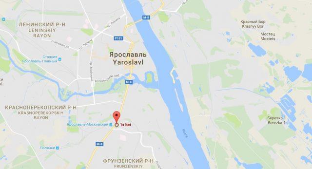 1xbet - Ярославль. Адрес букмекера на карте